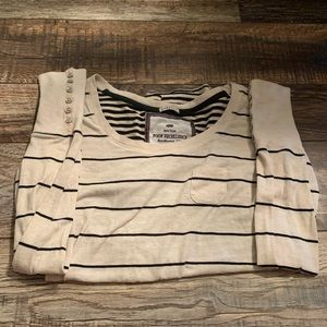White and black stripped long sleeve shirt